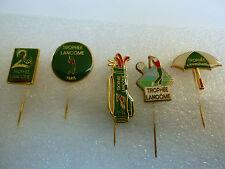 Lot 5 insignes Broches Epingles No Pin's GOLF Trophée LANCOME