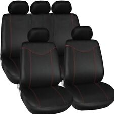New T21638 Black Red 9PCS Universal Seat Cover Set Front Rear for Auto SUV Sedan