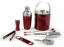 Bar Tools Set ,Stainless Steel Red Plain Bar Set | Bar Tools Set of 9 Pieces