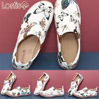 Women Soft Comfy Slip On Shoes Butterfly Pattern Ladies Non Slip Loafers Walkin