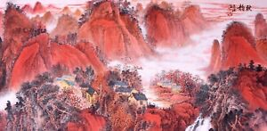 100% ORIENTAL FINE ART CHINESE SANSUI WATERCOLOR PAINTING-Red Mountains view