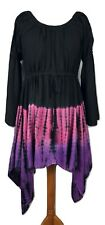 Gothic Fairy Dress Tie Dye Tunic Asymmetric Black Purple One Size 12 14 16 18