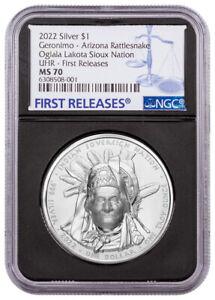 2022 Oglala Lakota Sioux Geronimo UHR 1 oz Silver $1 Coin NGC MS70 BC FR