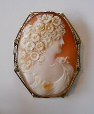 Large 58mm Oval Carved Shell Cameo 14K Rose Gold Brooch Girl w/ Flowers in Hair