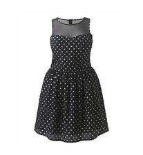 Knee Length Scoop Neck Spotted Skater Dresses for Women
