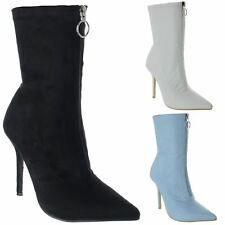 Womens Ladies High Stiletto Heel Pointy Toe Zip Up Sock Ankle Boots Shoes Size