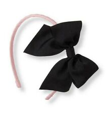 New cute & luxury Janie and Jack pink headband with black bow girls one size