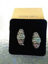 Heidi Daus Tiered Pink & Green Aurora Borealis Clip On Earring, New