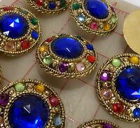 2 Vintage Extra Large Gold Plastic Shank Buttons Multi Color Jewels Blue 43mm