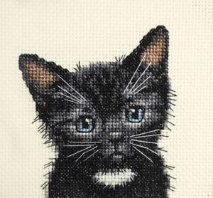 BLACK KITTEN CAT white bib Full counted cross stitch kit ALL MATERIALS INC.