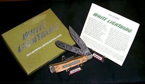 """Boker 2525 Bone Stag Knife """"White Lightning"""" Solingen Germany W/Packaging,Papers"""