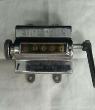"""VINTAGE CHROME 5"""" x 4"""" SILVER-KING ARS-5  MECHANICAL COUNTER"""