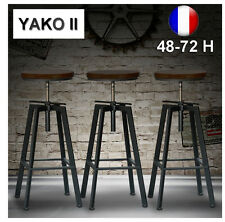Lot de 4 Tabourets de Bar Réglable YAKO 2 Design Luxe Loft Vintage Industriel