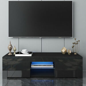 Modern TV Unit 130cm Cabinet TV Stand - Matt Body & High Gloss Doors & LED Light