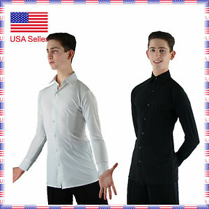 """MS962 Mens Ballroom Smooth Stretchy Dance Shirt in White or Black (14""""-18"""")"""