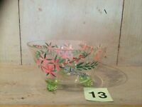 Hand Painted  footed glass bowl with leaves and flowers VINTAGE