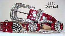 REDUCED! Chic & Sexy Burgundy Rhinestone Crystal Croco Bling Belt Size XL