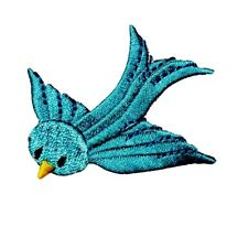 ID 0503 Blue Bird Flying Patch Robin Sparrow Dive Embroidered Iron On Applique