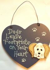 DOGS LEAVE FOOTPRINTS WOODEN SIGN WALL DECOR PLAQUE HOME DECOR ORNAMENT - NEW