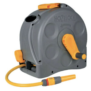 Hozelock Compact Hose Pipe Wall Mounted Reel 2-in-1 with 25m Hose Garden 2415