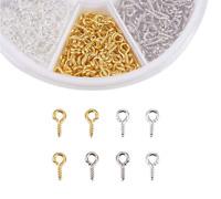 700pcs Iron Screw Eye Pin Bail Peg for Half drilled Beads 8/10mm Jewelry Making