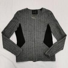 Maison Scotch & Soda Black And White Full Zip Knit Jacket Womens Sz 4 Wool