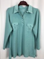 Orvis M Cotton Women's Blue Blouse Pullover Button Collar