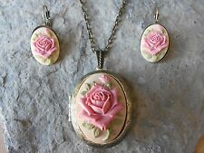 (ROSE CAMEO LOCKET and FRENCH EARRINGS SET) PINK - TAN - BEIGE - BRONZE, NICE