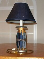 VTG Wooden Colonial Handcrafted Spindle Electric Desk Lamp w/Wheat Die Cut Shade