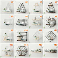 Industrial Style Wall Mounted Rustic Metal Wire Storage Shelves Rack Organiser