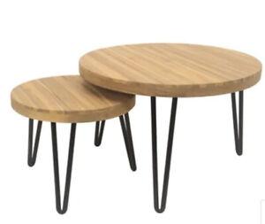 Timber Nesting Table Set 2 Piece Acacia wood table top Hairpin Turn Metal Legs