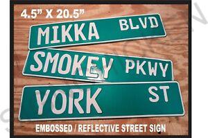 CUSTOM STREET SIGN - Embossed, Custom text, sign, man cave, home decor, garage