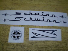 Schwinn Approved Large Curved Script Black Bicycle Peel & Apply 3 pcs Decal Set