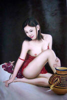"""Huge art Oil painting young Chinese nice girl seated with pottery pot canvas 36"""""""