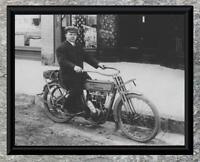 Classic... Man Riding Early 1900's Harley Davidson . Antique 5x7 Photo Print