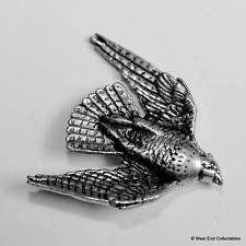 Stooping Hawk Pewter Pin Brooch -British Hand Crafted- Raptor Bird Prey Falconry