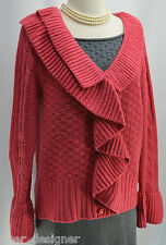 FEVER Cardigan Sweater Ruffle V neck coral Knit Button-Down knit top Womens SZ L