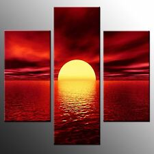 Framed HD Canvas Prints Red Night Moon Painting Canvas Wall Art Home Decor-3Pcs