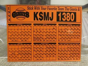SAN FRANCISCO GIANTS 1994 MAGNET SCHEDULE