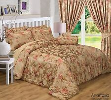 LUXURY GOLD & TERRACOTTA FLORAL JACQUARD ANASTASIA BEDSPREAD SET OR CURTAINS