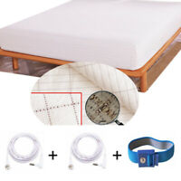 """Earthing Grounding Fitted Sheet Bedspread Queen/King size 60""""-80"""" Better Sleep"""