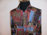 vintage King`s Road Hemd crazy pattern Langarmhemd shirt oldschool Viskose L