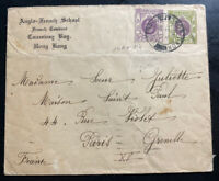 1938 Hong Kong Anglo French School cover To Paris France