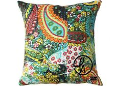 "16"" Cotton Cushion Cover Indian Paisley Black Color Square Boho Pillow Case 5 Pc"