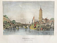 19th Century Antique Steel Engraving of CHINA - City of Nanking