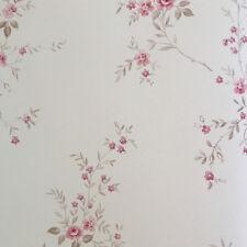 Fiori shabby romantici rosa su carta fa parato con fondo beige