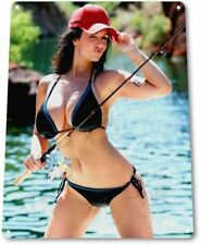 Reel It In Pinup Girl Sexy Cowgirl Fishing Man Cave Wall Decor Metal Tin Sign