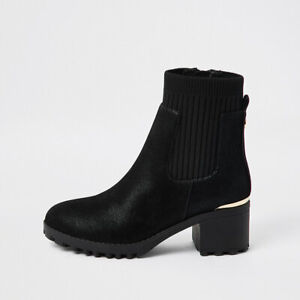 River Island Girls Black Chunky Heeled Ankle Boots