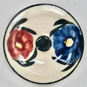 Pom Pom Variant Lid With Knob Blue Ridge Southern Pottery Blue Red Flowers (O2)