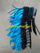 28INCH turquoise chief indian feather headdress indian war bonnet